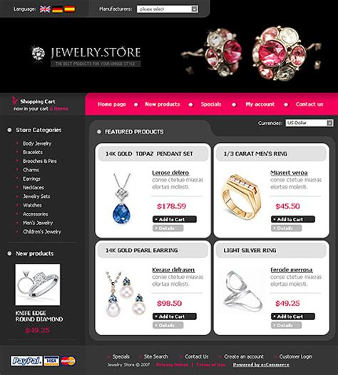 Jewelry Store Website Template Template 16133 Jewelry Store Oscommerce Ecommerce Website Template