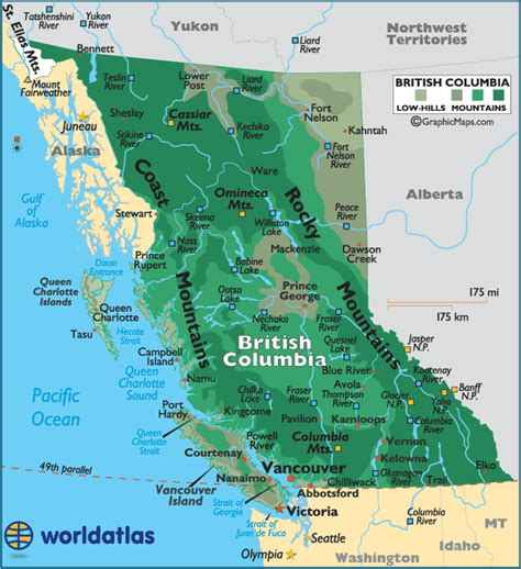 bc canada map columbia canada large color map