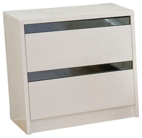 high nightstand modern high gloss nightstand with 2 drawers white