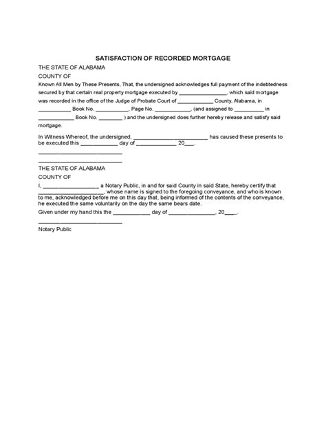 satisfaction of mortgage form satisfaction of mortgage form 13 free templates in pdf