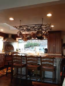 kitchen island with hanging pot rack good pot rack with lights homesfeed