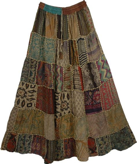 Patchwork Skirt - ethnic embroidery green patchwork skirt clothing sale