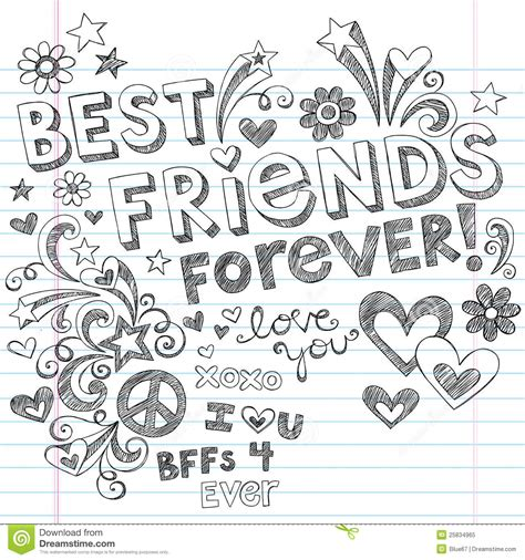 best friends forever sketchy notebook doodles stock vector