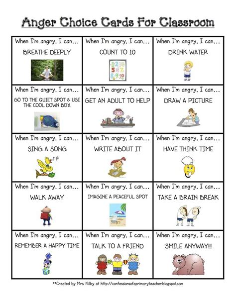 cards for classroom anger choice card classroom management