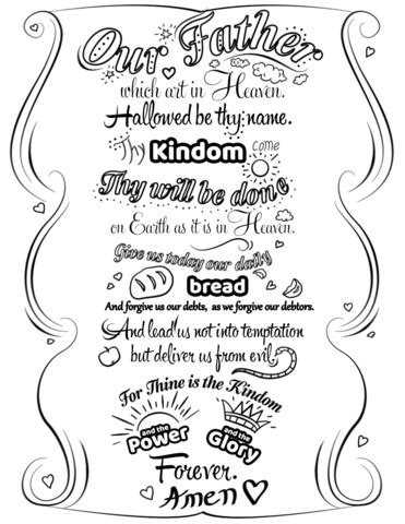 printable children s prayers lord s prayer doodle coloring page free printable