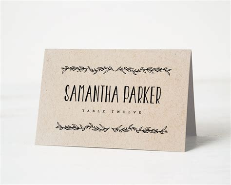 Name Card Template Wedding Tables by Printable Place Card Template Wedding Place Cards Editable