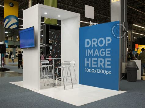 Hoodie Fair Station Apparel placeit expo stand mockup with a vertical banner