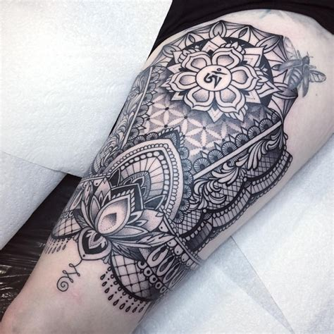 big thigh tattoos large hinduism themed thigh of big ornament with