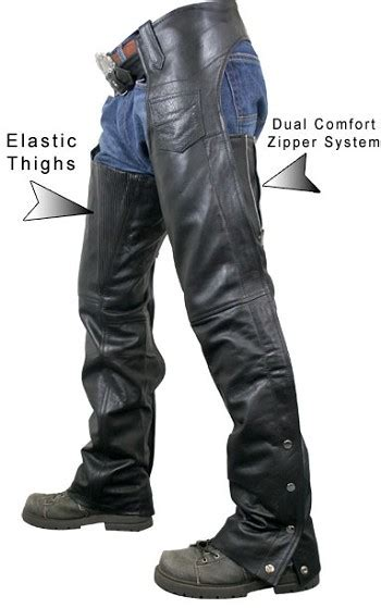 Maxx Comfort Mens by S Advanced Dual Comfort System Leather Motorcycle Chaps