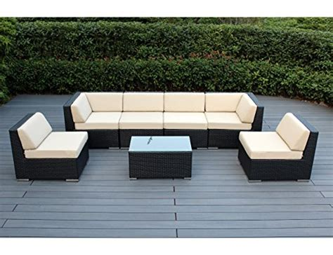 Ohana 7 Piece Outdoor Patio Furniture Sectional No Cushion Outdoor Furniture