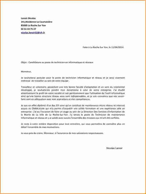 Lettre De Motivation De Base lettre de motivation technicien lettre de motivation 2018