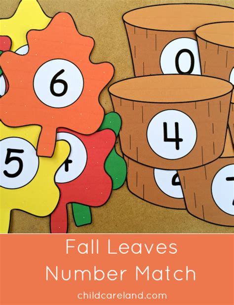 printable number leaves fall leaves number match