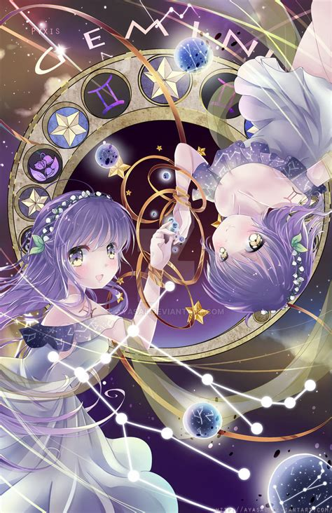 anime zodiac gemini zodiacal constellations by ayasal on deviantart