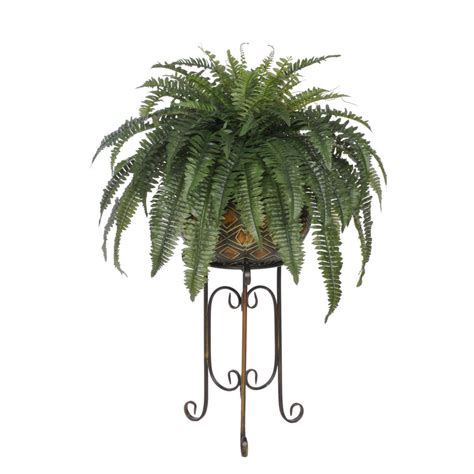 Autumn Wreaths by Artificial Fern In Large Tribal Planter Stand House Of