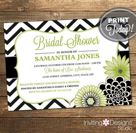 printable black and white bridal shower invitations bridal shower invitation wedding shower invitation
