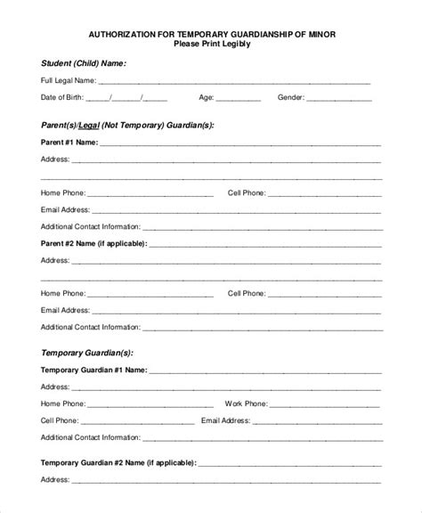 Temporary Guardianship Form Free Download Chlain College Publishing Template For Temporary Child Custody