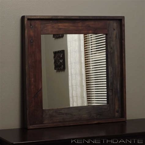 Wood Framed Mirrors Rustic Wall Mirrors Milwaukee | wood framed mirrors rustic milwaukee by kennethdante