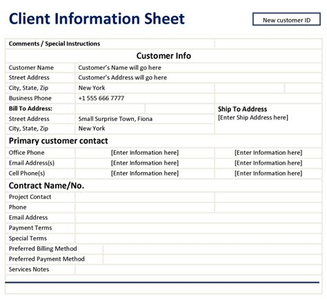 client page template client information sheet template