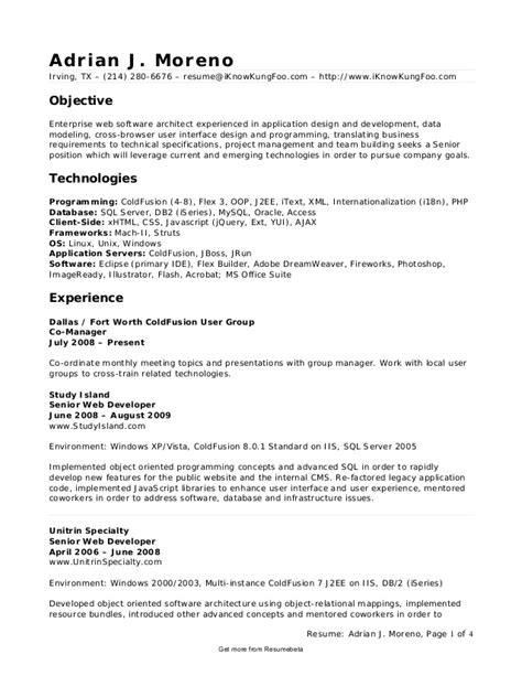 Cold Fusion Experience Resume by Cold Fusion Developer Resume Amountartists Gq