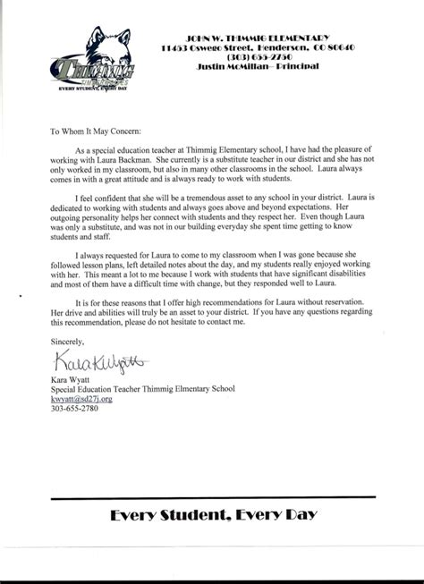 Recommendation Letter For Student In Education Kara Wyatt Special Education