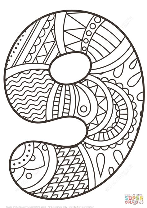 Number 9 Zentangle Coloring Page Free Printable Coloring Coloring Pages For 9 10