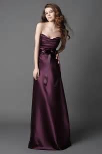 plum colored bridesmaid dresses 2011 plum strapless sash a line silhouette length