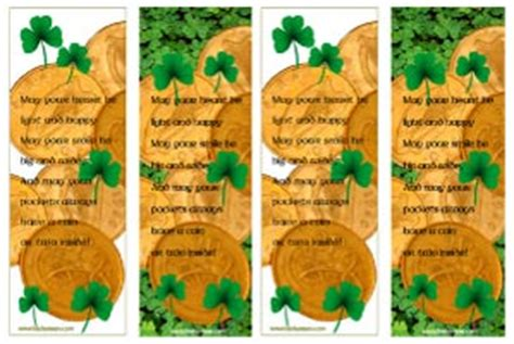 printable irish bookmarks printable bookmarks st patrick s day shamrocks or lucky coins