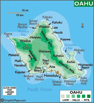 oahu map and map of oahu hawaii