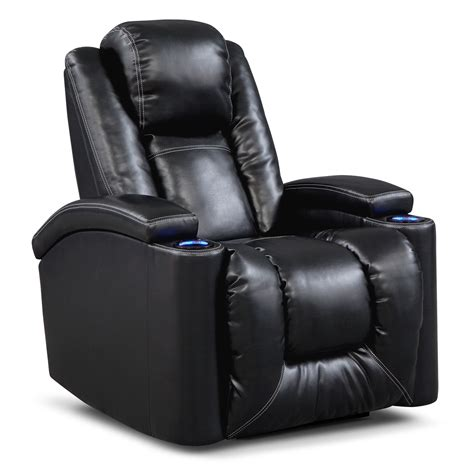 Black Leather Power Recliner value city furniture
