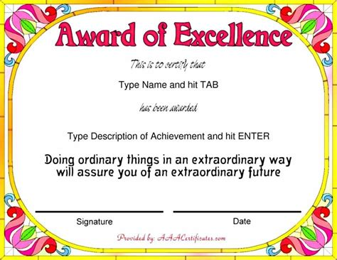 free printable award template free achievement certificates templates certificate234