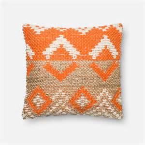 orange and beige 22 inch decorative pillow with poly