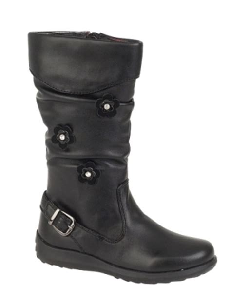 knee length faux leather boots stretch flower