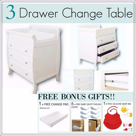 Baby Change Tables Australia 3 Drawer White Baby Change Table Chest Dresser Cabinet Changer Nursery Ebay
