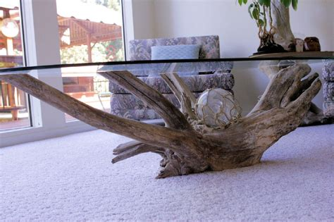 Driftwood And Glass Coffee Table Noll S Pleasant Hill Oregon Home