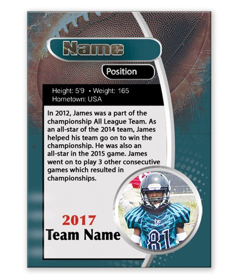 Custom Football Card Template by Custom Football Trading Card Template