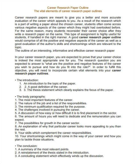 Career Research Paper Thesis by Career Research Paper Thesis Statement
