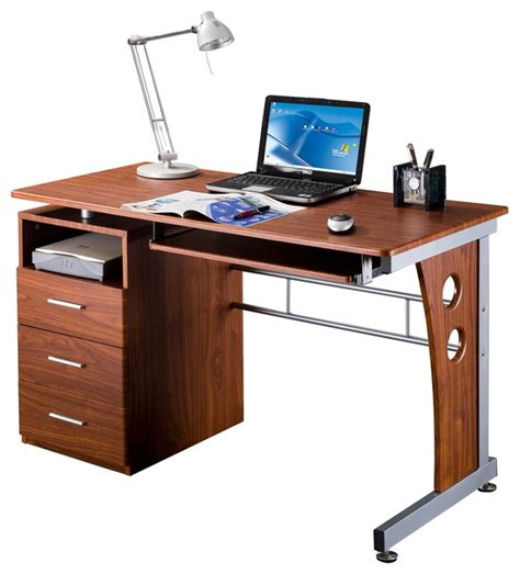 techni mobili double pedestal laminate computer desk chocolate computer desk with ample storage chocolate contemporary
