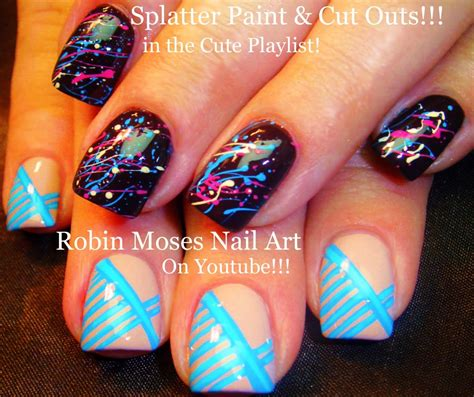 Easy Nail Paint Designs by Robin Moses Nail Splatter Paint Nail Technique