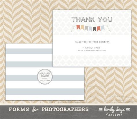 thank you letter to photography client photographer thank you card template instant