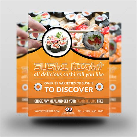 sushi restaurant flyer by owpictures graphicriver