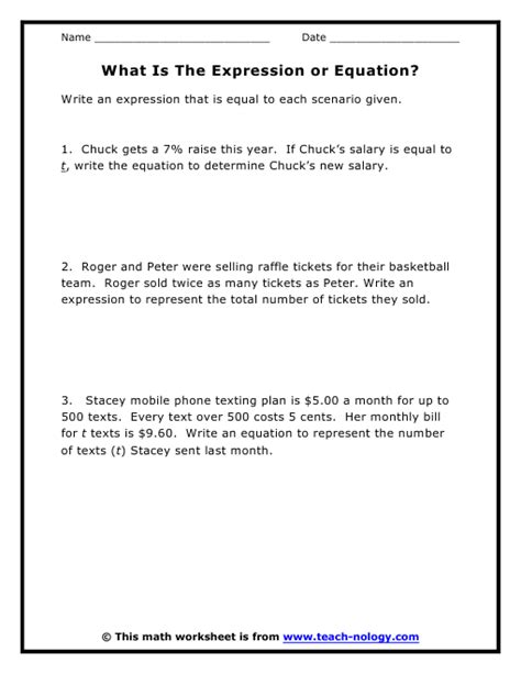 Expressions And Equations Worksheet 7th Grade by What Is The Expression Or Equation