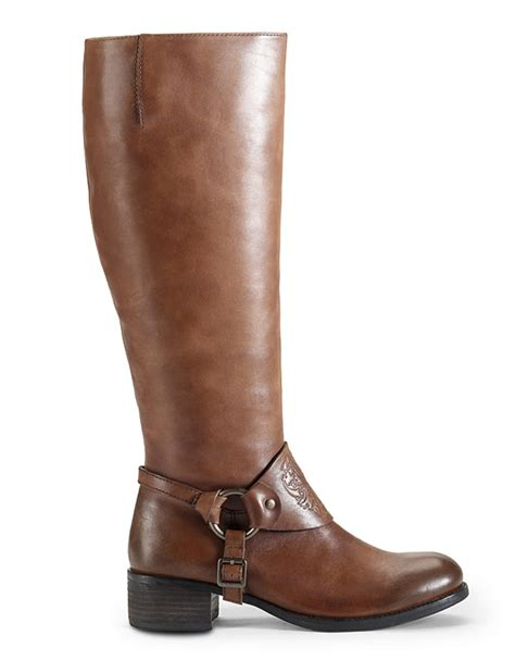 vince camuto shoes vince camuto shaylee leather boots in brown lyst