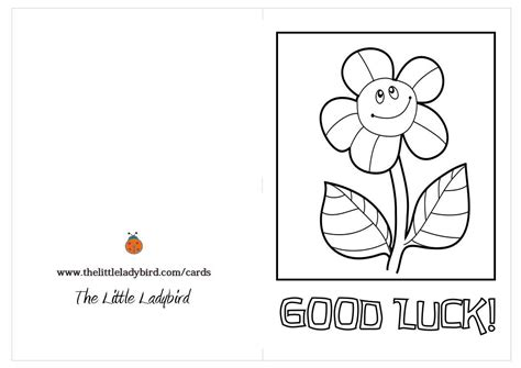 Luck Card Word Template by Free Luck Sunflower Coloring Page Thelittleladybird