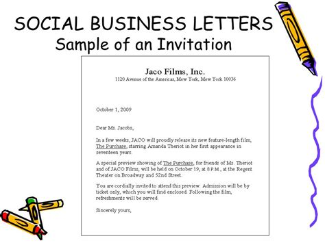 sle layout of invitation social business letter definition business letters