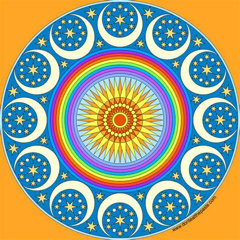 New Outer Mandala free and moons coloring pages