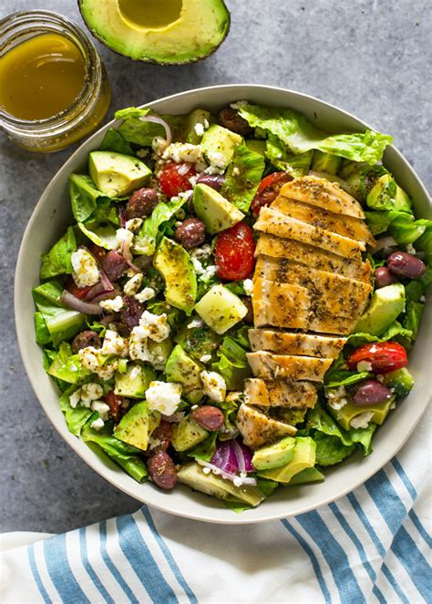 greek avocado grilled chicken salad with greek dressing gimme delicious