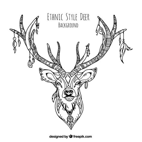decorative illustration of hand drawn ethnic deer vector