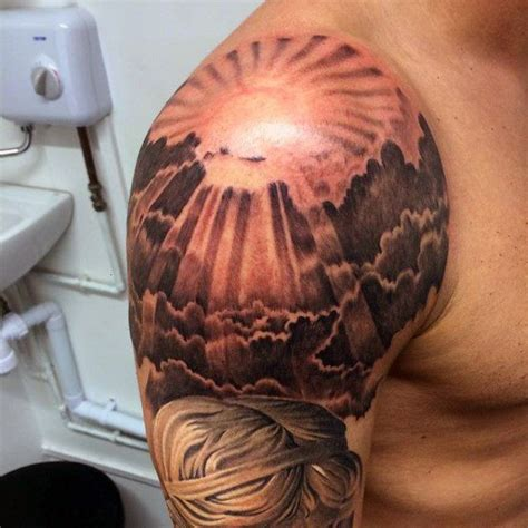 sun shoulder tattoo designs masculine mens sun tattoos sleeve ideas