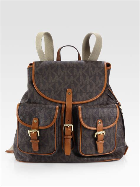 Backpack In Signature 38301 Brown lyst michael michael kors signature backpack in brown