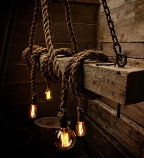 Rope Light Ceiling The Ahab 4 Industrial Rope Light Barn Beam Pendant Wood Ceiling Chandelier Accent